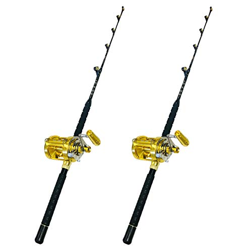 EatMyTackle 50 Wide 2 Speed Fishing Reels on 60-80 Pound Tournament Rods (2 Pack)