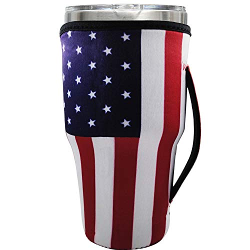 Reusable Neoprene Iced Coffee Cup Sleeve Neoprene Insulated Sleeves Cup Cover Holder Idea For 30oz - 32oz Tumbler Cup,Trenta Starbucks,Large Dunkin Donuts (Only Cup sleeves) (national flag)