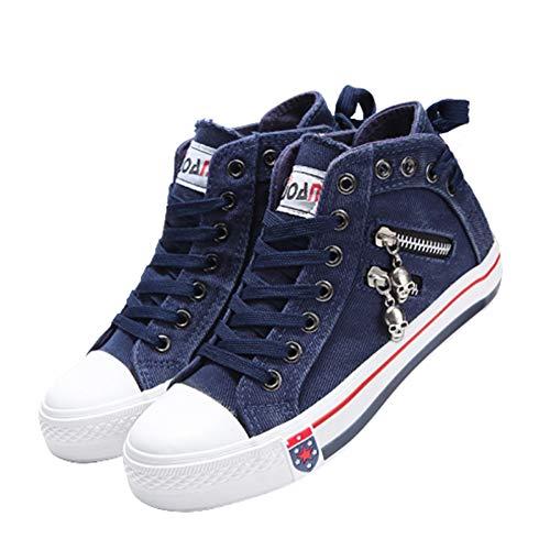 Sallypan Frauen-Schuhe, 2020 Denim Hoch Segeltuch-Turnschuhe für Frauen Vulcanize Schuhe Sommer Lace-Up-Seiten-Reißverschluss-Trainer-Walking-Schuhe,Navy Blue,38