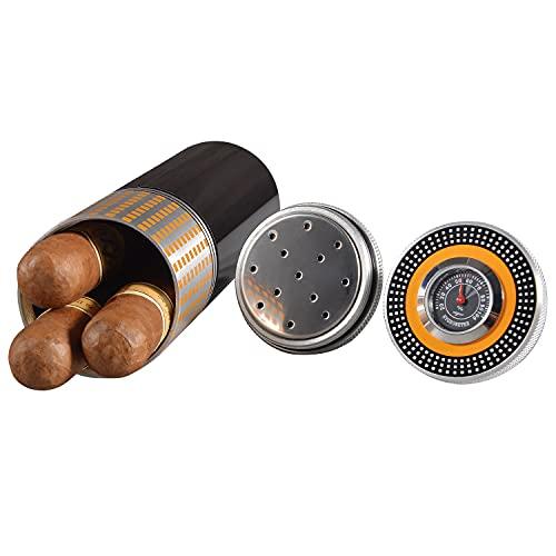 Volenx Zigarren Humidor Edelstahlrohr mit Hygrometer und Humidor Befeuchter für 3 Zigarren (Schwarz)