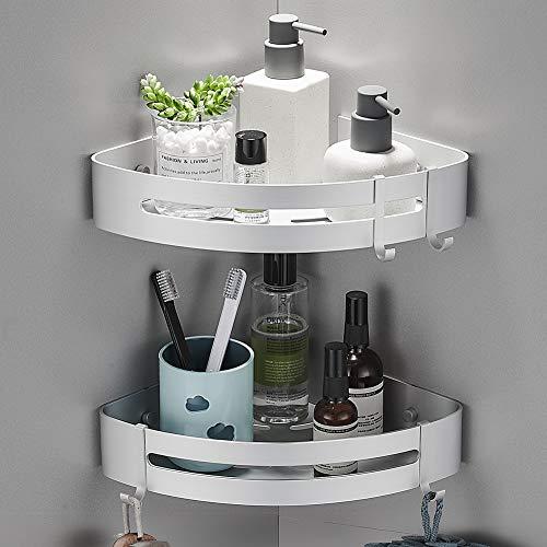 Yeegout Étagères d'angle de salle de bain sans perceuse avec crochets amovibles, rangement pour chariot de douche adhésif en aluminium brillant de sable (2Pack)