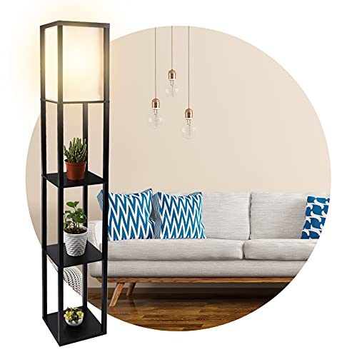 Floor Lamp with Shelves, 3-Tier Wooden Shelf Standing Light Without Bulb, Tall Lamps for Living Room Bedroom Reading Storage Display for Home Decoration (Black,26 X 26 X160cm)