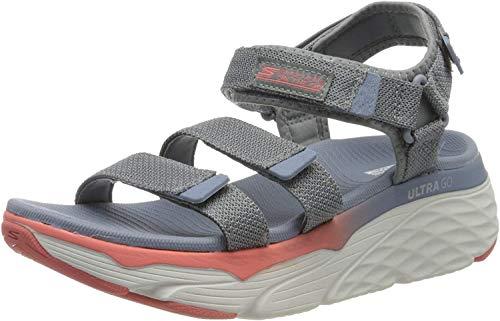 Skechers Max Cushioning, Sandali con Cinturino alla Caviglia Donna, Grigio (Charcoal/Multi Textile Ccmt), 39 EU