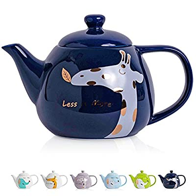 ThaiGEX Teapot, Porcelain Tea Pot with Stainless Steel Infuser, Blooming and Loose Leaf Ceramic Teapot (30 OZ / 900 ML), Navy Giraffe