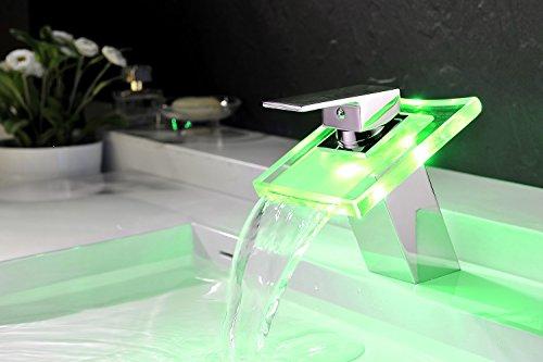 JAMBO Miscelatore bagno cascata vetro LED verde o 3 colori