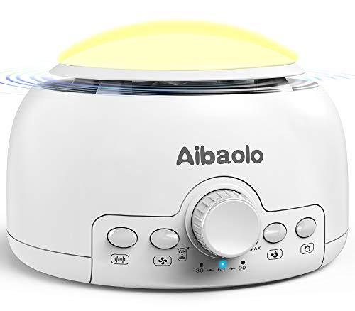 White Noise Machine, Aibaolo Weißes Rauschgerät mit Nachtlicht zum Schlafen, 24 Natürliche Sounds, Timer&Memory-Funktion, Soundmaschine für Kinderzimmer,Zuhause,Büro,Reisen (weiß)