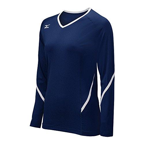 Mizuno Damen Techno Generation Long Sleeve Jersey, Damen, Marineblau/weiß, M