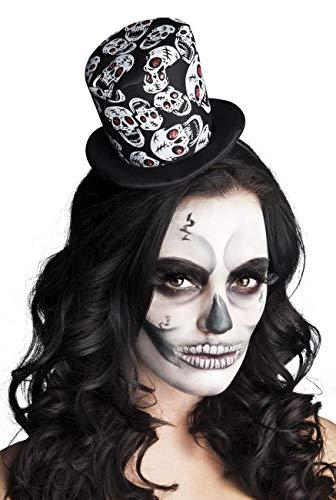 Boland - 97010 Tiara Casquette Tuba Tête de Mort Skull Glance pour Adultes, Noir, Taille Unique