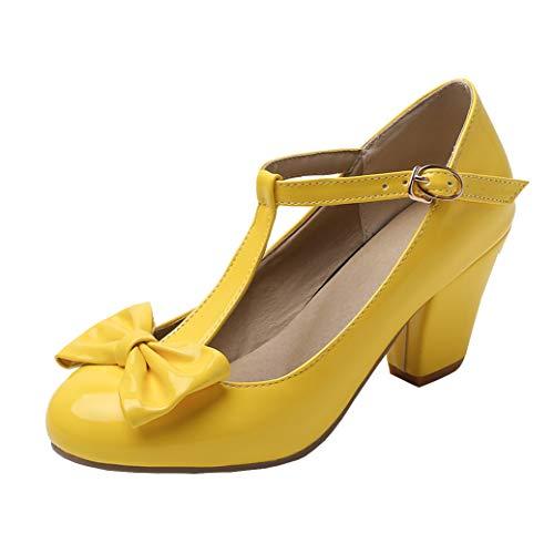 T-spangen Pumps Lack High Heels mit Blockabsatz und Schleife Rockabilly Schuhe (Gelb,40)