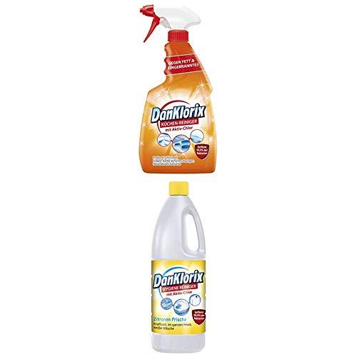 DanKlorix Küchen-Reiniger, 1er Pack (1 x 750 ml) + Zitronenfrische, 1er Pack (1 x 1.5 l)