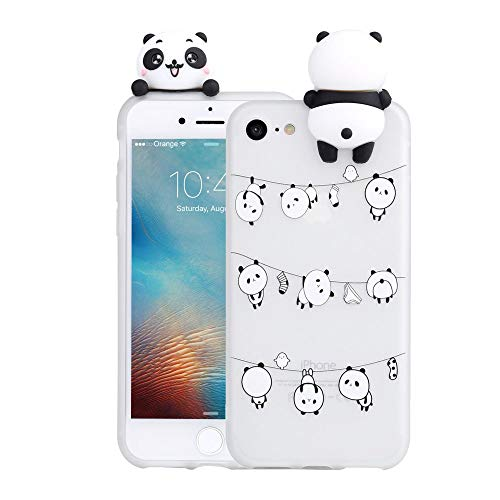 LAPOPNUT 3D Cartoon Panda Case for Apple iPhone 6 / 6S Case Soft Back Cover Candy Colour Cute Bear Design Slim Flexible Protective Case Cover Gel Rubber Bumper for Girls, Lovely Pandas