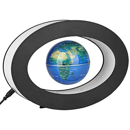 Whinop 3 Pulgadas Globo de Levitacion con Luces Color LED,Azul Magnetic Globe para Escritorio, Oficina, Decoración del Hogar, Educación para Niños