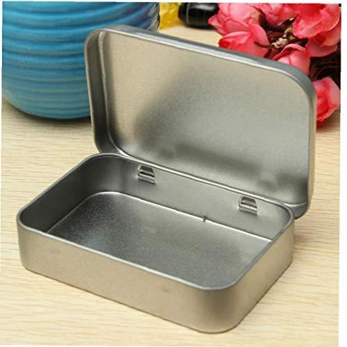 Case Cover Zinndeckel leeren Silber-Metallaufbewahrungsbehälter Organisator Münze Süßigkeit Schlüssel Plain-Speicher-Fall Gadget Box Überlebens-Werkzeug Flip