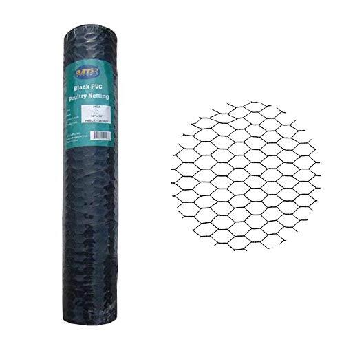 MTB PVC Hexagonal Poultry Netting Chicken Wire 36' x50' x 1' Mesh 20GA Black