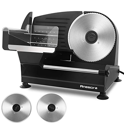 Meat Slicer, Anescra 200W Electric Deli Food Slicer with Two Removable 7.5'' Stainless Steel Blades and Food Carriage, Child Lock Protection, 0-15mm Adjustable Thickness Food Slicer Machine- Black