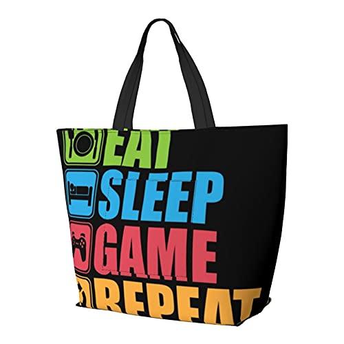 Gaming Eat Sleep Game Ripetere Borsa a Tracolla Multifunzionale Grande Capacità Borsa Tablet Borse Leggero Lavoro Tote Bag Weekender Borsa Da Viaggio Beach Sack per le Donne