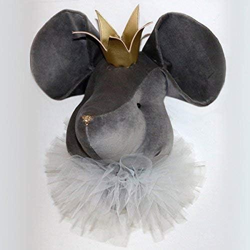 Sevira Enfants - Décoration murale - trophée animal en peluche - Fait-main (Souris gris)