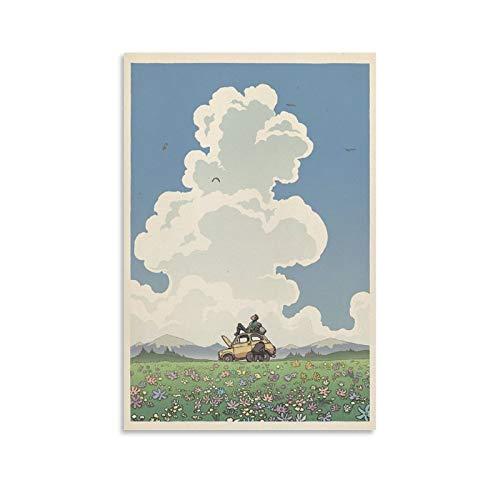 BUJI Studio Ghibli Lupin III Toile Poster du film Château de Cagliostro Hayao Miyazaki Décoration murale 40 x 60 cm
