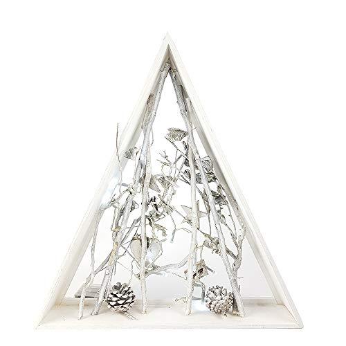 Cornice quadro con luci natalizio illuminato rami con pigne sotto albero di natale triangolare decorazioni addobbi natalizi stile moderno nordico shabby chic ornamenti casa natale idea regalo