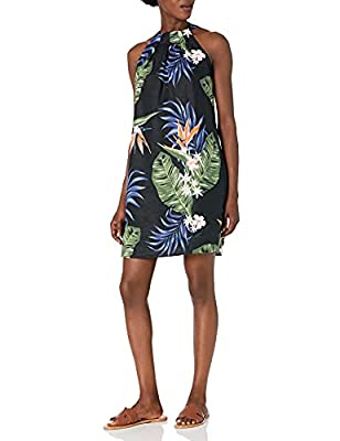 Amazon Brand - 28 Palms Women's 100% Linen Halter Hawaiian Print Shift Dress