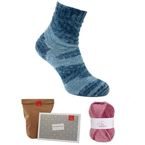 MyOma Sockenstrick Set -Oma Christines Spirellisocken rot- Sockenwolle – Socken Strickset mit Sockengarn pink – Anleitung zum Socken Stricken und Wollrausch-Label – Socken Stricken – Sockenstrickset