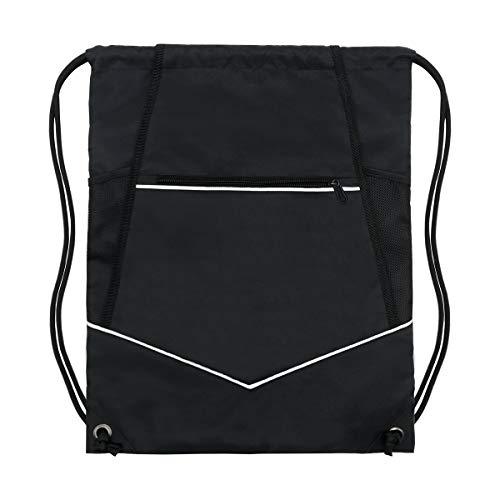 HOLYLUCK Packable Drawstring Sackpack Wet Pocket with Zipper and Water Bottle Mesh Pockets - Black