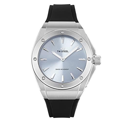 TW Steel Damen Analog Schweizer Quarzwerk Uhr mit Silikon Armband CE4031