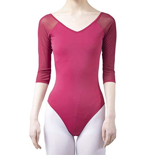 EFINNY Besinet EFINNY Mujeres Niñas Adultas Ballet Leotardos Body Spandex Ropa de Danza Negro 3/4 Manga de Malla Gimnasia Leotardo Sin Espalda Ballet Práctica Traje de Danza