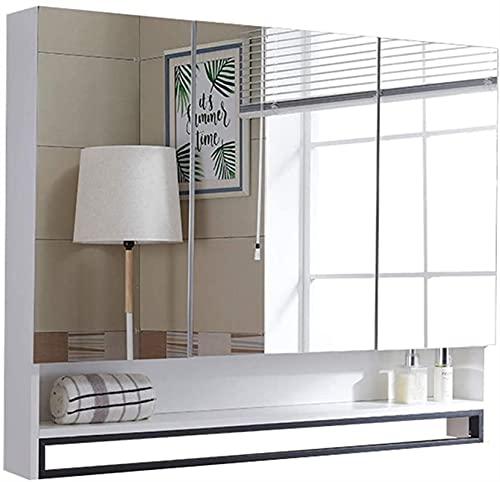 Gabinete espejo simple y moderno de madera sin pintura de madera maciza con espejo de pared HD Barra de toalla de acero inoxidable de la barra de acero inoxidable ( Color : White , Size : 70*14*80cm )