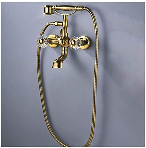 MLFPDXC-Golden bañera grifo de latón cascada baño grifo de bañera juego de ducha de doble manija grifo de bañera estilo teléfono montado en la pared con ducha de mano ducha agua fría y caliente
