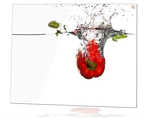 Glas Expert Küchenrückwand | 75 x 60 cm | Paprika Motiv + Weiß - Pure Weiß | Ultra Clear Glass ® - EVOPRINT Glas ® | Deko Spritzschutz Rückwand für Küche, Herd, Fliesen, inkl. Befestigungsmaterial