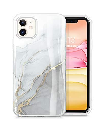 GVIEWIN Marmor für iPhone 11 Hülle, Shlank Glänzend Weich TPU Gummigel Schutzhülle Cover Rundumschutz Robust Case Stein Marmor Handytasche Handyhülle iPhone 11 6.1 Zoll 2019 (Blanco/Grey)