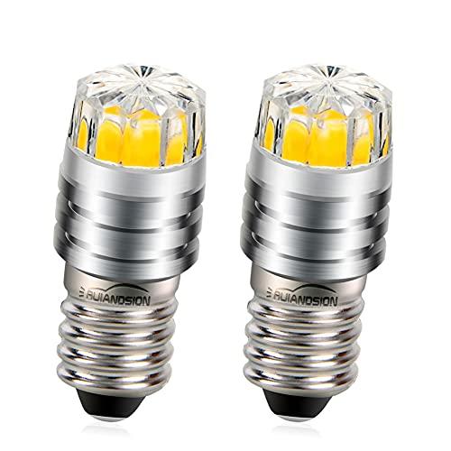 Ruiandsion - Bombillas LED de repuesto para linternas y linternas de cabeza, de 2 W COB 3 V, 6 V, 12 V, E10, Blanca/2700K Amarilla/4300 Blanca cálida, 2 unidades, Blanco cálido., 3 V