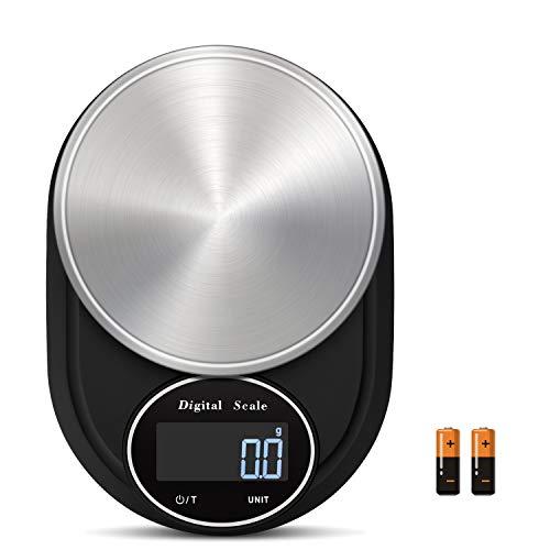 MARTINUS YANG Báscula de cocina digital de 5 kg de precisión multifunción g/kg/lb/oz/tl/ml con pantalla LCD de acero