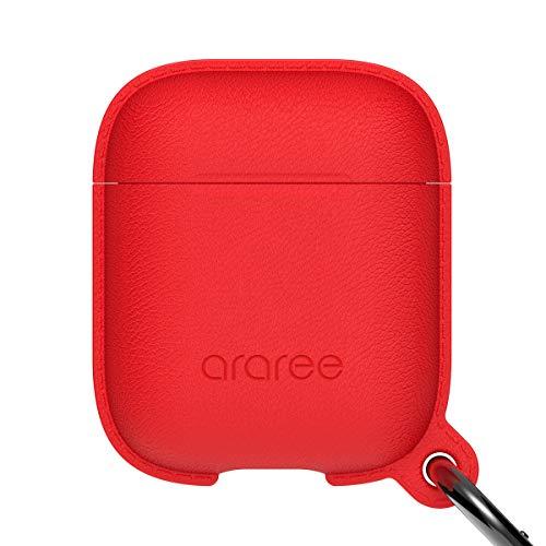 araree [Pops] Silikon-Schutzhülle für AirPods-Hülle, ultradünn, weich, hautfre&lich, kratzfest/stoßfest, Leder strukturierte Silikonhülle, kompatibel mit Apple AirPods 1 (rot)