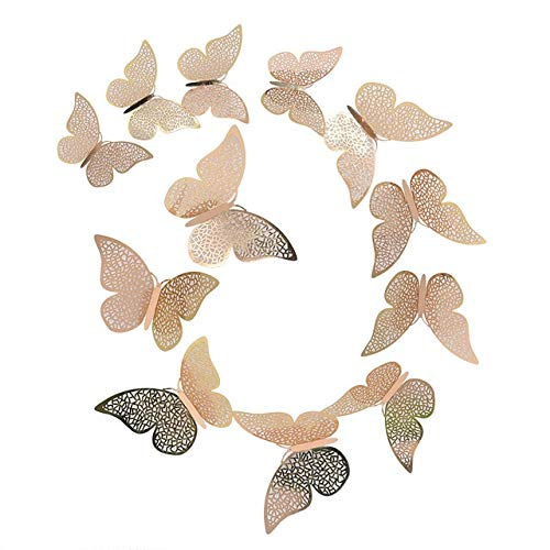 Wall Stickers 3D Hollow Butterfly Paper 3 Sizes Silver Gold Stickers Fridge Stickers Home Party Wedding DIY Decor 12 Pcs/Set 12/10/8cm B11