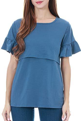 Smallshow Stillshirt Kurzarm Umstands Tshirt Umstandstop Umstandsmode Rüschen-Kurzarm Schwangerschaft Shirt L Dusty Blue