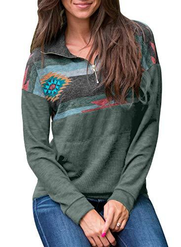 AlvaQ Women's Fall Winter Casual Long Sleeve 1/4 Zip Floral Printed Pockets Loose Pullover Sweatshirt Hoodies Tops Green,(US16-18)X-Large