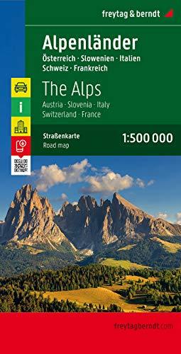 Alpenländer - Österreich - Slowenien - Italien - Schweiz - Frankreich, Autokarte 1:500.000 (freytag & berndt Auto + Freizeitkarten)
