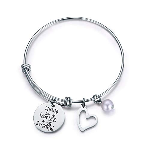 Jvvsci Strong Fearless Beautiful Bracelet Motivational Bangle Inspirational Jewelry Friends BFF Sisters Encouragement Gift