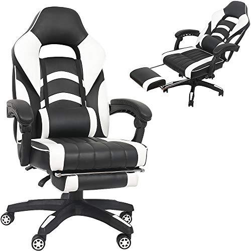 Melko Gaming Stuhl mit Fußstützen höhenverstellbar Bürostuhl Weiß Schreibtischstuhl mit Armlehnen Gamer Stuhl PU-Leder Chefsessel 150 kg Belastbarkeit