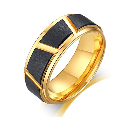 VNOX 8mm Two Tone Tungsten Carbide Brushed Finish Black and Gold Plated Irregular Grooves Trimming Wedding Engagement Band Ring for Men Boys,Size N 1/2-X 1/2