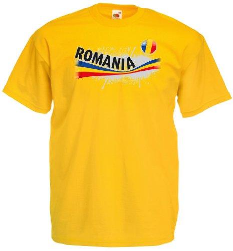 World-of-Shirt Romania/Rumänien Herren T-Shirt Vintage Trikot|M
