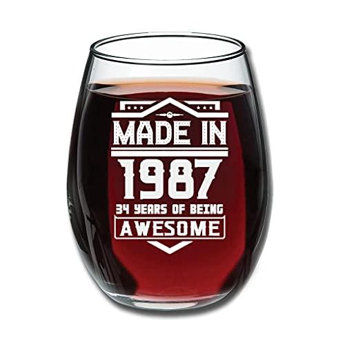 Copa de vino de 12 oz hecha en 1987 talla clásica bebida tazas decoración fiesta para vino blanco rojo regalo cumpleaños regalo blanco 350ml
