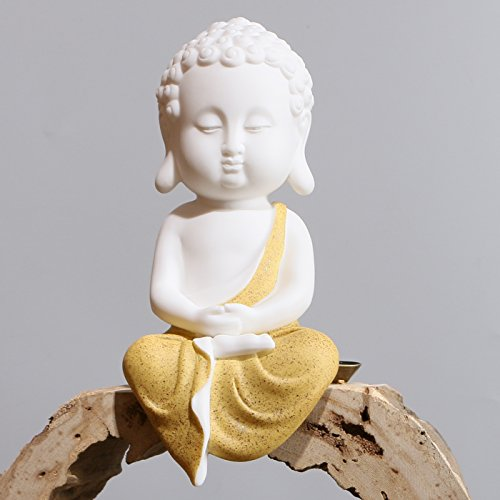 White Ceramic Little Cute Buddha Statue Buddha Figurines Home Decor Creative Crafts Ornaments Gift Delicate Ceramic Arts and Crafts (Yellow)
