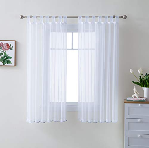 HLC.ME White Tab Top 54 inch x 63 inch Long Window Curtain Sheer Voile Panels for Living Room & Bedroom, Set of 2