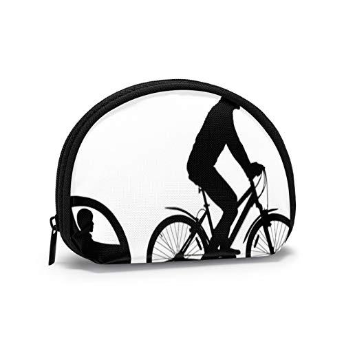 Mountain Bike Silhouette Cyclist Child Stroller Zipper Purse Jewelry Pouch Bag