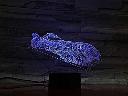 3D Night Light Batman Chariot Car 2019 Cool Sell Infant Operated 7 Colors Changing Touch Lámpara de escritorio para niños Cumpleaños Regalos de Navidad