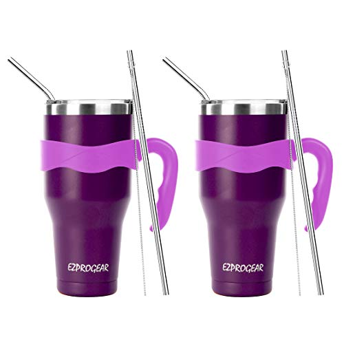 Ezprogear 40 oz 2 Pack Stainless Steel Beer Tumbler Double Wall Purple Camping Mug with Straws and Handle (40 oz 2 Pack, Purple Grape)