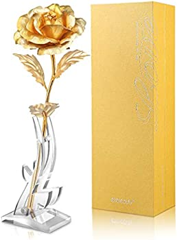 Etereauty 24k Artificial Gold Rose with Stable Bracket